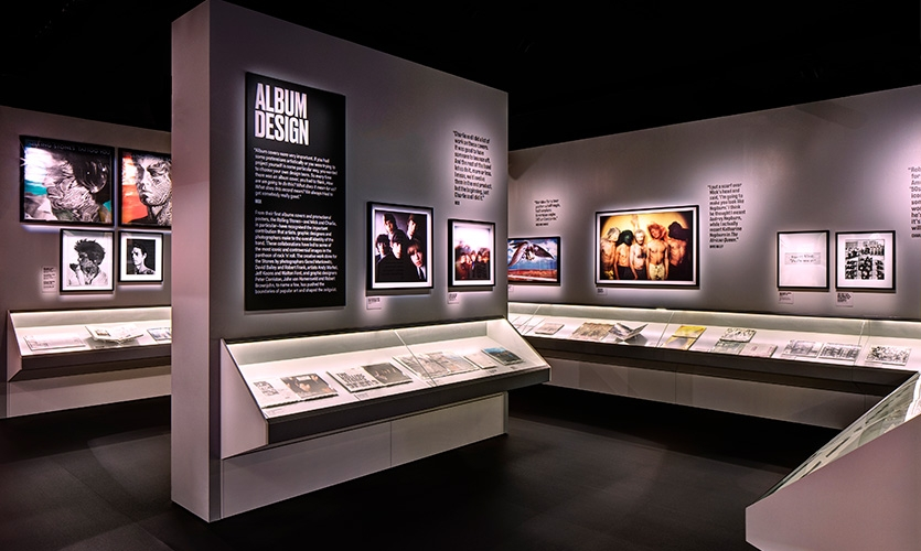 The Art and Design gallery explores the band's strategic deployment of art and design, featuring their collaborations with legendary photographers and designers.