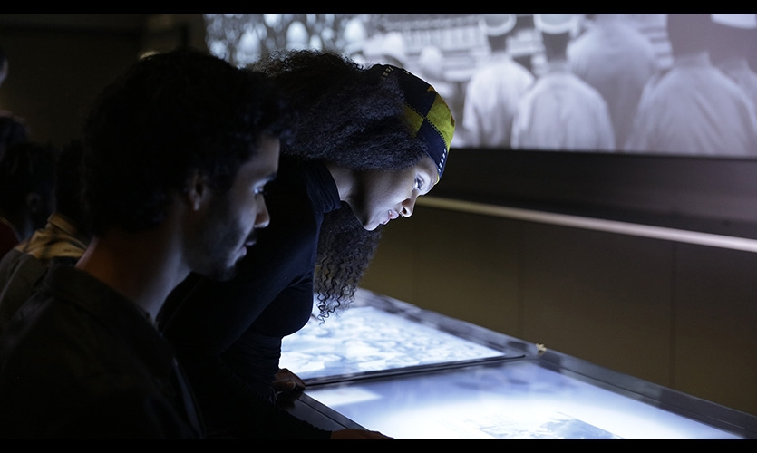 Twelve multi-touch screens are embedded into a modern interpretation of a Woolworth's lunch counter.