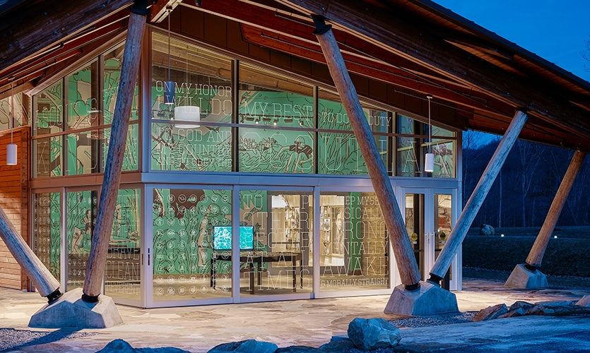 The entry to the Visitor Center. Scouts never get tired of the Scout Law. Really. Here it is etched into the glass facade with a brightly colored mural as a backdrop.