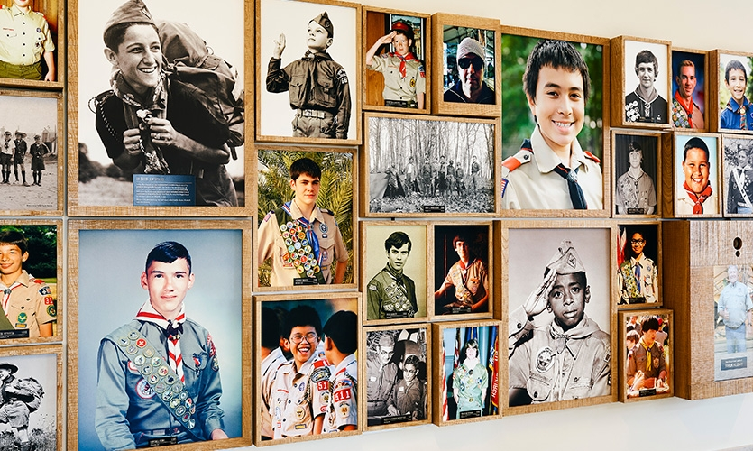 A continuum of Scouts shows 100 years of determination, citizenship, leadership and curiosity. A photo station allows visitors to take a picture of themselves and display it in a portrait screen.