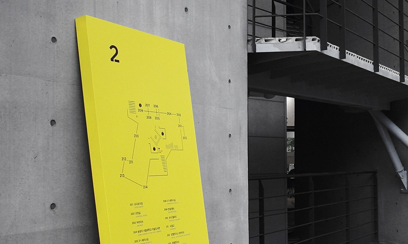 Second floor guide in the atrium.