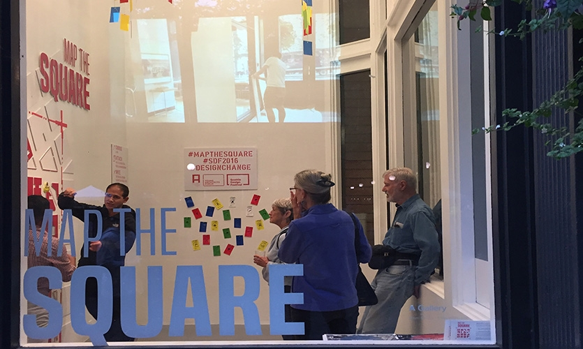 The team collected/documented the tags throughout the neighborhood and transposed each tag's location onto a large scale gallery map on display for the public.