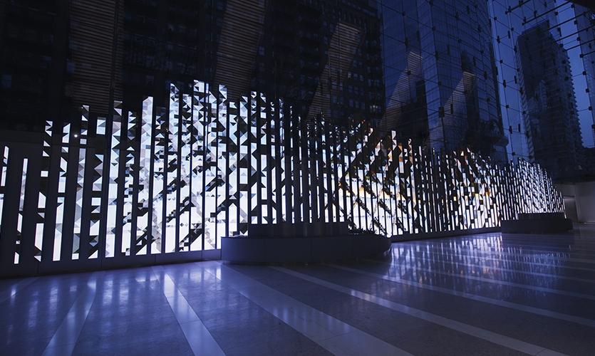 Leviathan showcases abstract art to illuminate the lobby.