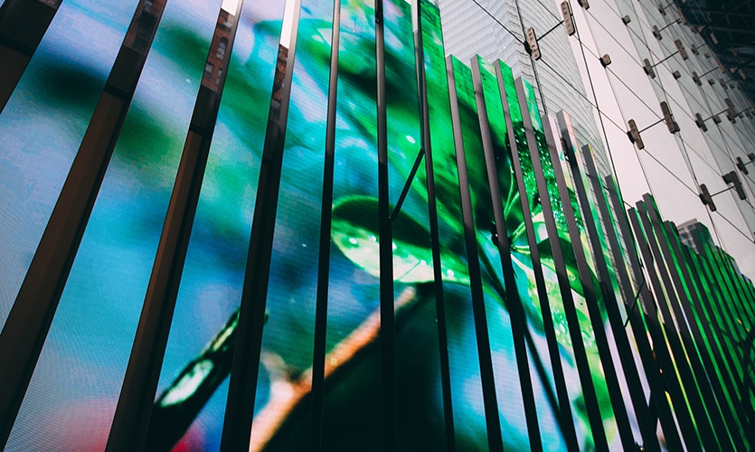 Artist Edyta Stepien was one of the first artists to showcase her work across the massive 3000 sq-ft LED canvas.