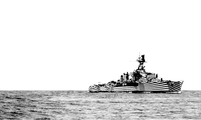 A dazzle ship, Glorie, was a source of inspiration.