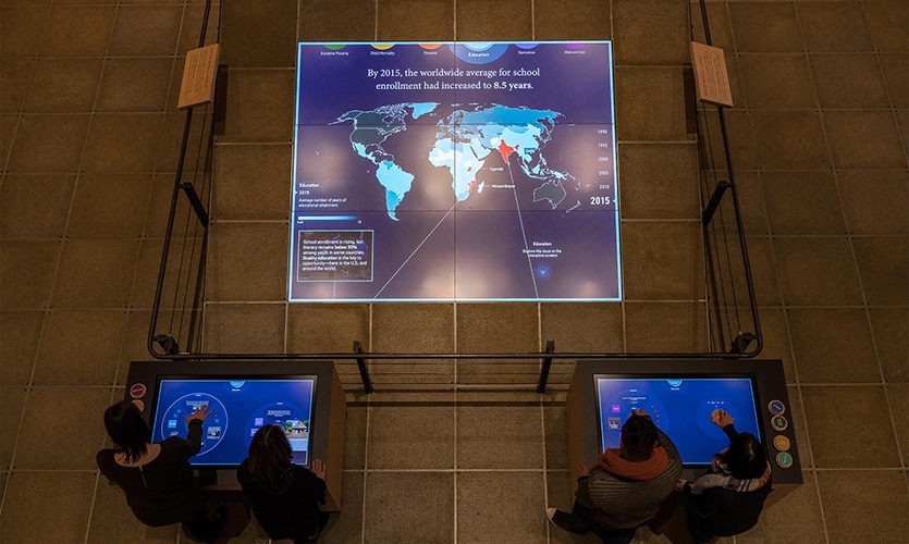 The centerpiece of the Discovery Center is a large multi-user interactive floor display that leverages touchscreen technology and the extraordinary data collected by the Gates Foundation.