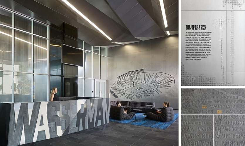 Lobby graphics incorporate multiple techniques—acid etching, laser engraving and backfill, metal perforation and vinyl lettering, which offers flexibility to update donor names.