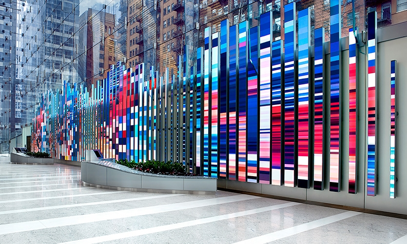 "The design features 89 vertical video elements, dubbed ""blades"" and varying in height and width, each covered in tight-pitch LED."