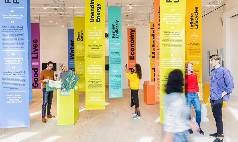 """Visitors to the story forest learn about key industry leaders working across the """"5 Goods"""" that could change the industry from the ground up."""