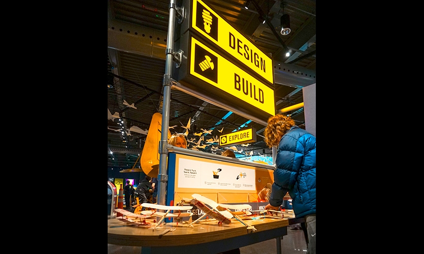 Stations within the gallery are themed to resemble aircraft maintenance facilities and equipment, and feature themed graphic imagery, type and iconography. Visitors here build their own test planes.