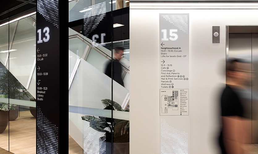 THERE provided signage, wayfinding and environmental branding across 24 floors of workplace.