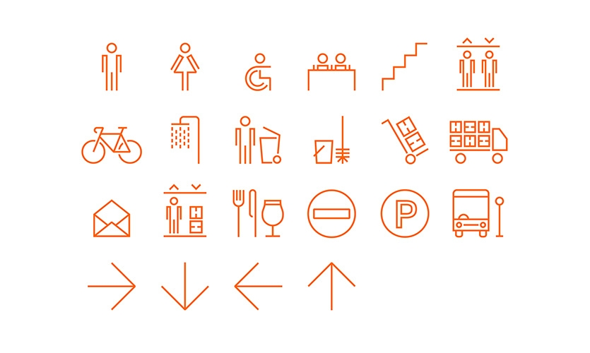 Custom iconography is a key component of internal wayfinding. The icon's geometric forms nod to circuit language and create a consistent and ownable visual system.