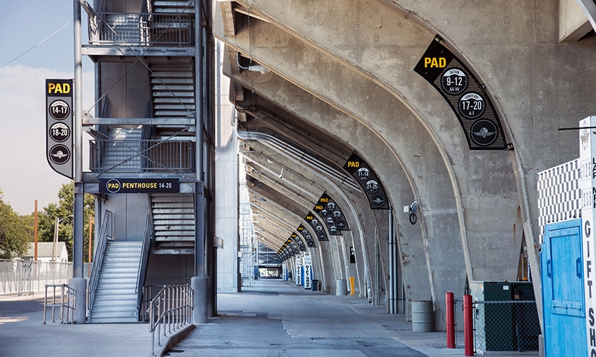 When the grandstands were installed in the 1960s, multiple companies were pre-casting concrete columns, so the blade design had to be strategically measured at every column to account for variances.