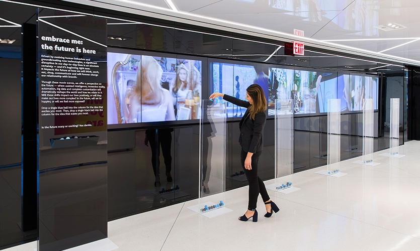 Looking to the future of brand, an interactive video installation invited visitors to vote on which trend excites them and scares them most.