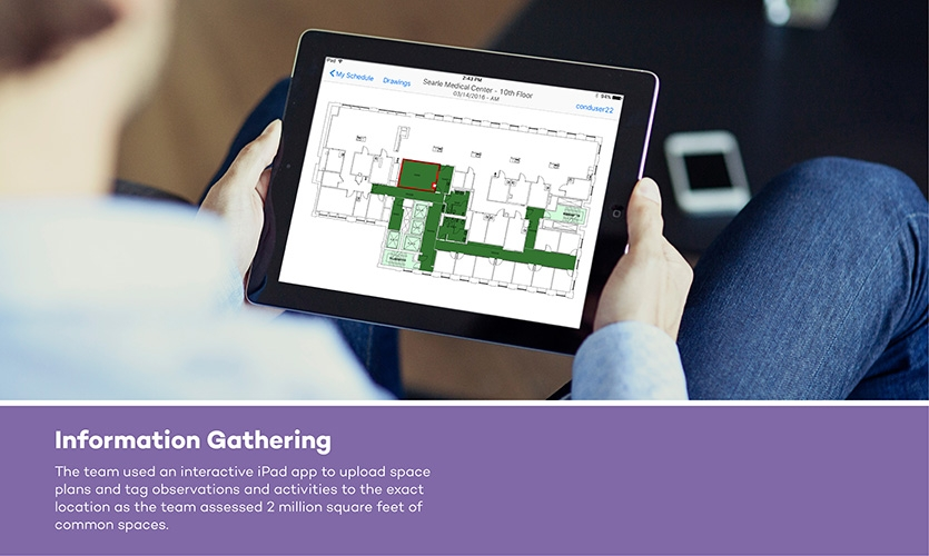 The team spent four months gathering information from campus tours, floorplans, IT and Wi-Fi data and user interviews.