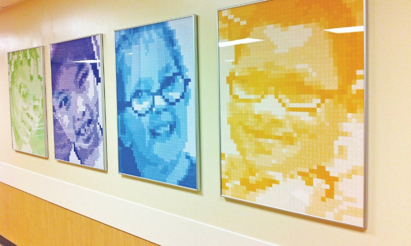 Artwork for the Ophthalmology unit was digitally recreated through use of eye-chart like symbols of Cincinnati Children's patients and families. (Design: Kolar Design)