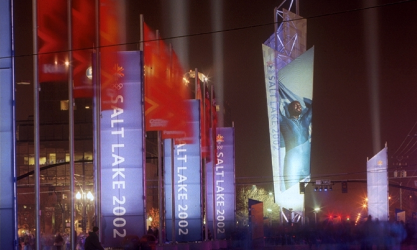Crystal spire towers, marked with the visual language of the Salt Lake 2002 logo, welcomed visitors, athletes and fans to each venue. The most prominent tower stood 100' tall and was later moved to downtown Salt Lake's Gallivan Plaza as a legacy element.