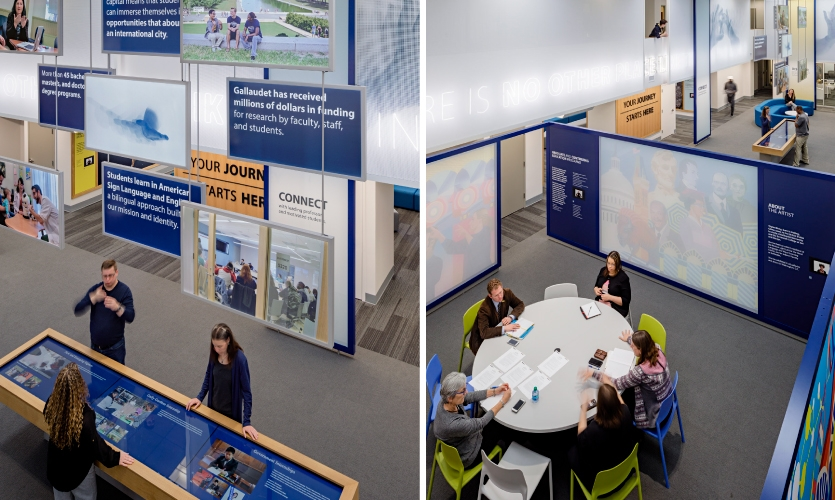 In the center of the space, a large touch-table provides relevant information on tours, academic offerings and student access to amenities.