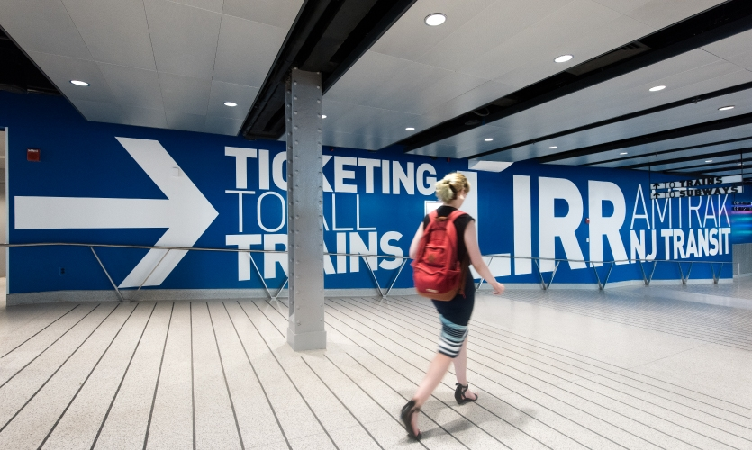 The project uses messaging in a welcoming, engaging and, appropriate for New York, in-your-face way to guide passengers through the environment.