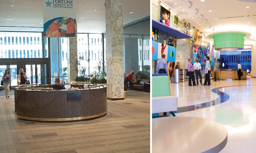 Before and after at P&G headquarters: Kolar Design worked on P&G sites in Cincinnati, Rome, Geneva, Seoul, Beijing, Jakarta, Bangkok, Singapore, New Castle and Madrid.