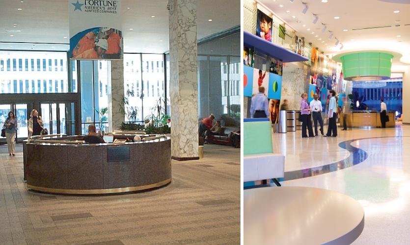 Before and after at P&G headquarters: Kolar Design worked on P&G sites in Cincinnati, Rome, Geneva, Seoul, Beijing, Jakarta, Bangkok, Singapore, New Castle and Madrid.
