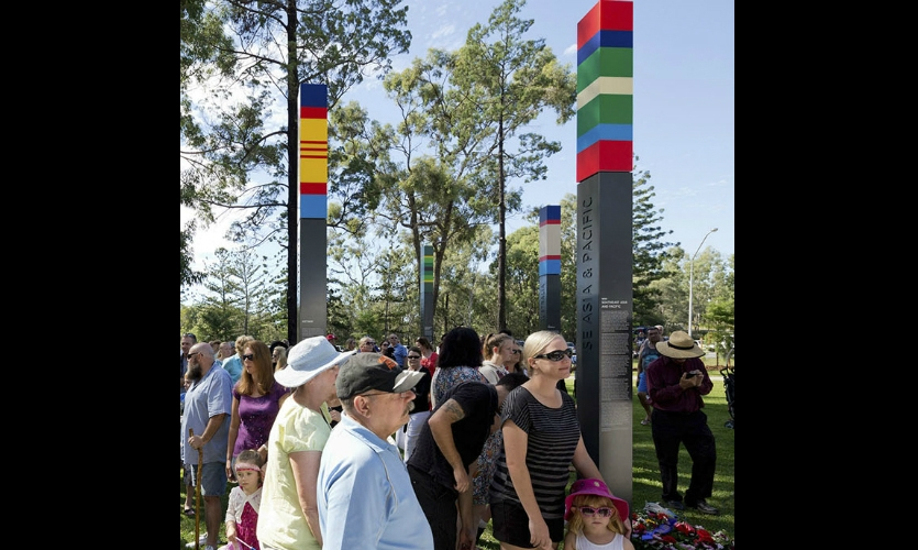 The 11-ft.-tall steel columns feature painted-aluminium panels with direct-printed graphics.