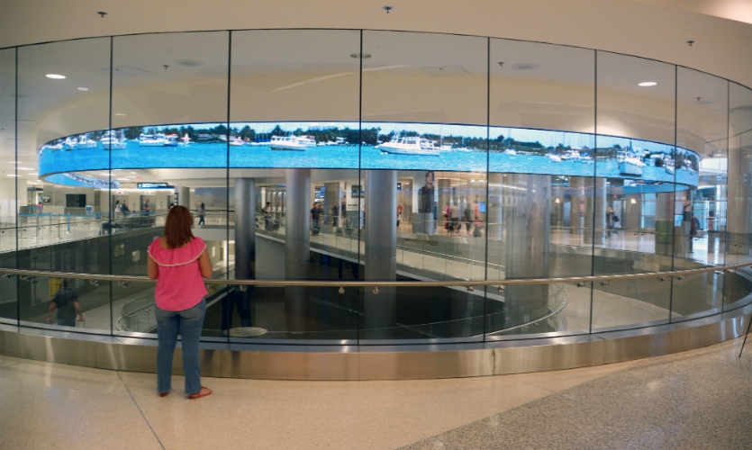 A new LED ribbon greets international passengers arriving via the Federal Inspection Service (Customs) area.