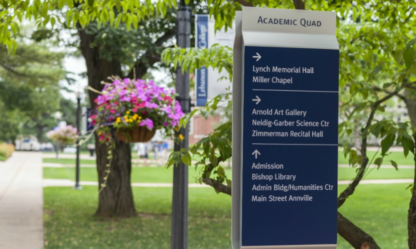 On the 340-acre campus of Lebanon Valley College in Annville, Pa., CGA developed a comprehensive wayfinding program focused on pedestrian and vehicular navigational issues.