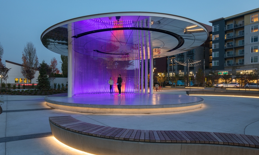 LED lighting program animates the installation at night.