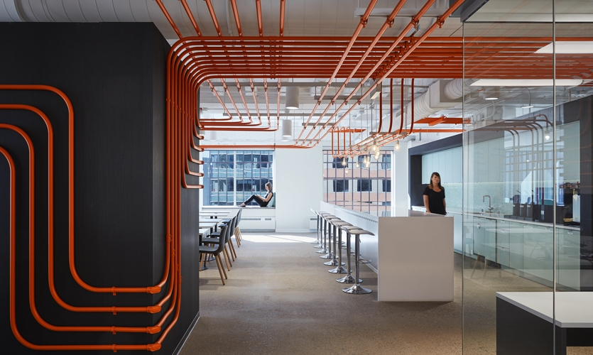 View back to the café from the open office showing how the conduit guides you through the space.
