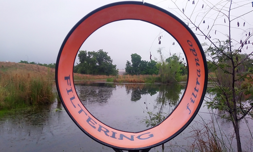 Filtering out city distractions, one of four viewing frames encourages visitors to focus on specific moments of the park experience. (image: circular sign directs the visitor view toward water)