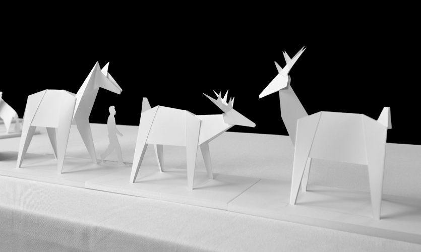 Models made by Origami style folded paper
