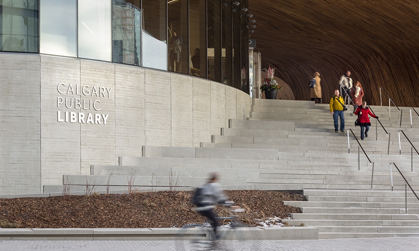 Exterior identification welcomes visitors. (image: library entrance)