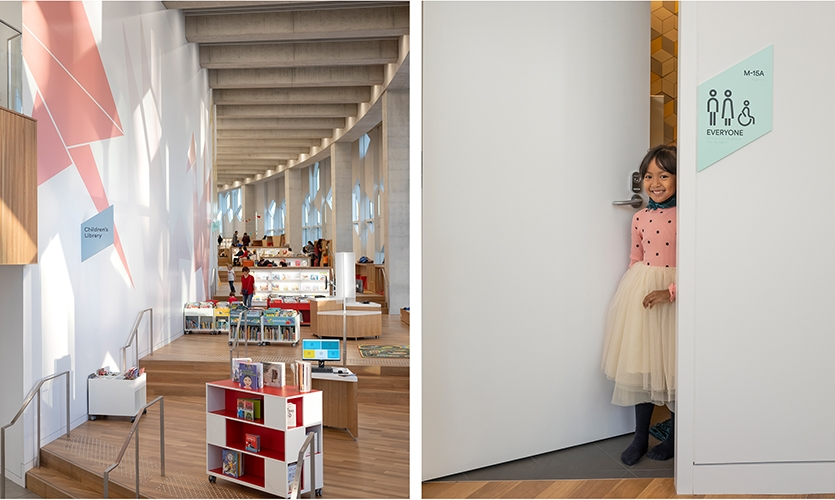 Simple, friendly approach to the colors and pictograms are welcoming to visitors of all ages. (image: library stacks, young girl)