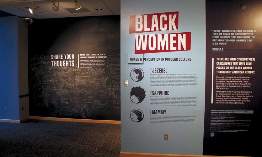 Black Women: Image & Perception in Popular Culture, title wall and chalk wall