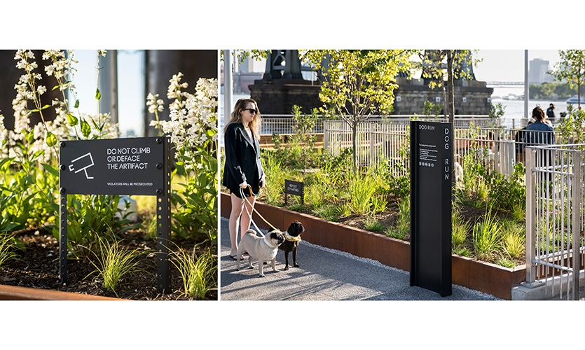 Smaller low level signs were created which continued the industrial language and palette. (image: dog park signage)