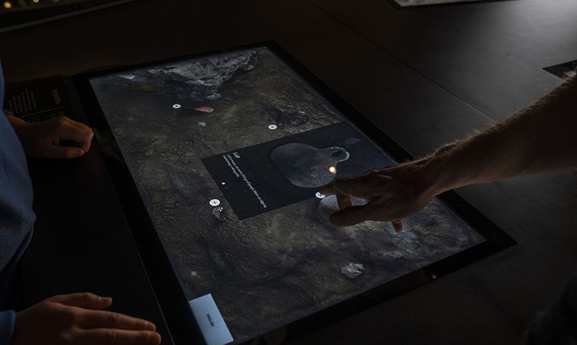 In this installation visitors become archaeologists and dig for artifacts that have been found at Þingvellir – and often tell a good story. (image: touch-enabled table)