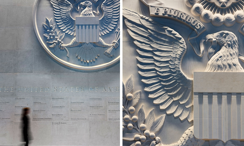 """In the reception area, the notion of """"poetry of place"""" is expressed with a monolithic country seal."""