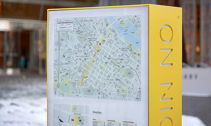 Nicollet (image: bright yellow-edged wayfinding kiosk signs)