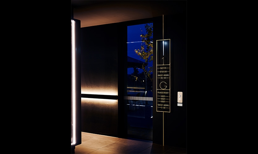 Subtlety integrated wayfinding signage shifts guests seamlessly throughout the property.