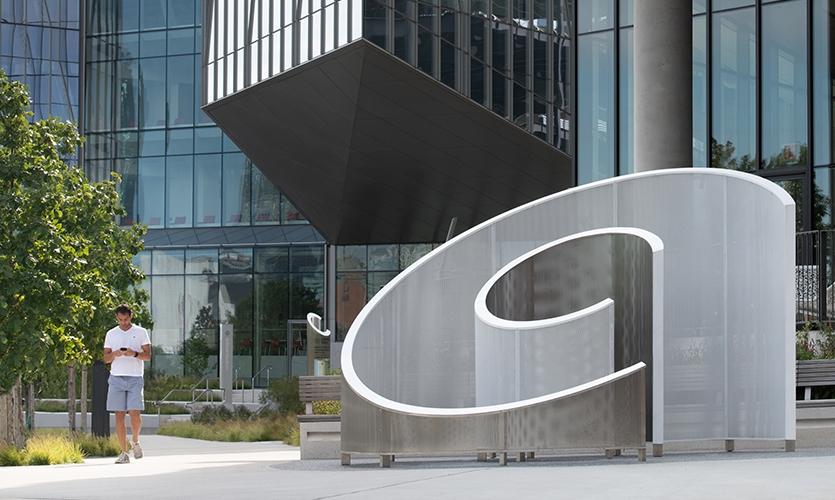 """Cornell Tech (image: large sculptural letter """"C"""")"""