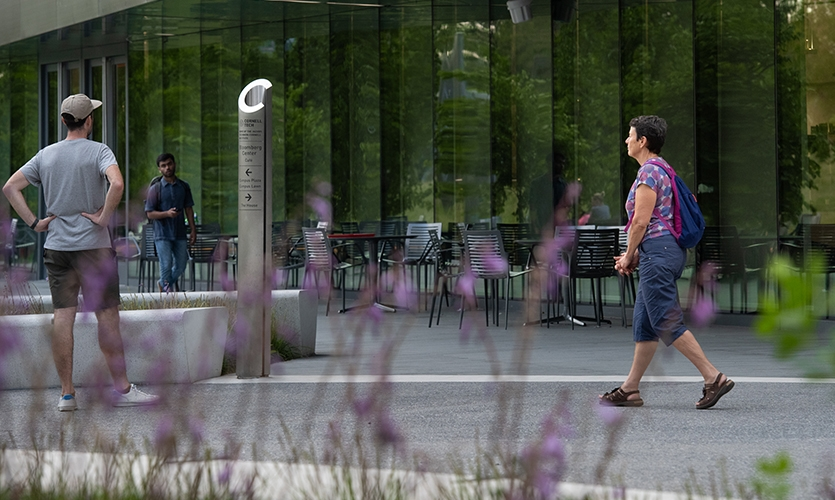 Cornell Tech (image: people use stainless steel wayfinding totem)