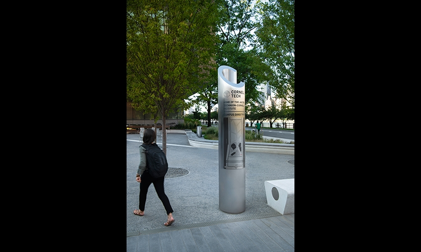 Cornell Tech (image: stainless steel column with map)