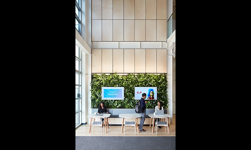 Green wall with digital displays