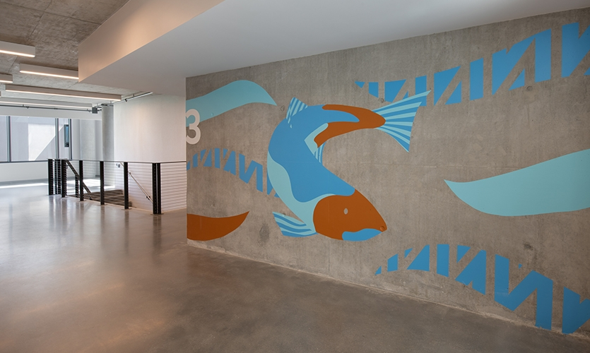 The Salmon restoration is an important story for the ts?pxatu (Avila) location. (image: large wall mural of salmon with numeral 3)