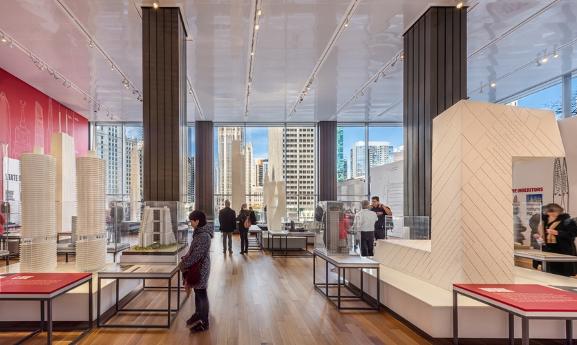 Peer through the gallery, the iconic Chicago skyline reflects the exhibits within the center, interpreting city buildings into stories of how they came to be, and the effect they've had on culture.