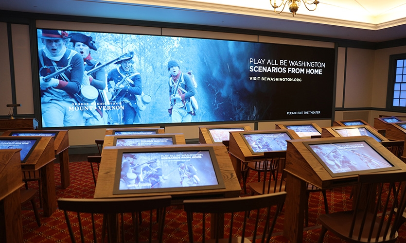 "The ""Be Washington"" interactive theater before visitors enter. (image: interactive theater)"