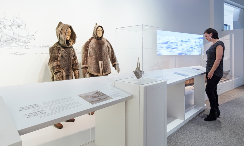 AV stations throughout the exhibition connect visitors to Inuit oral history accounts detailing encounters with Franklin's men and contemporary accompanying illustrative sketches by contemporary Inuit.