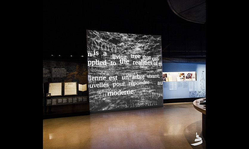 Our three exhibits contribute to the Canadian Museum for Human Right's aim of creating an engaging experience with human rights that will inspire and leave a lasting impression on visitors.