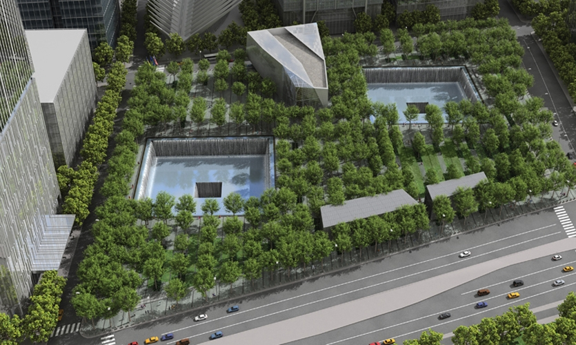 An aerial rendering shows how closely the realized site resembles Arad's initial vision. The wedge-shaped building is Norwegian architect Snøhetta's Memorial Pavilion. (Image: Squared Design Lab)